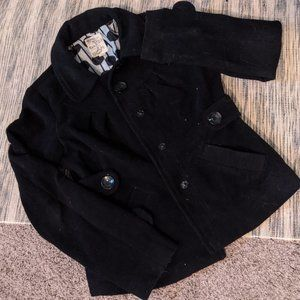 Tulle Black Cropped Pea Coat Lined